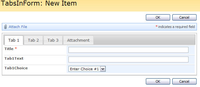 tabs in sharepoint form