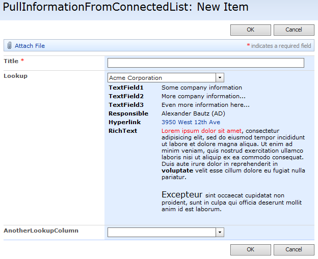 please note that these fields are not stored in the current item but are shown when viewing the form in newform