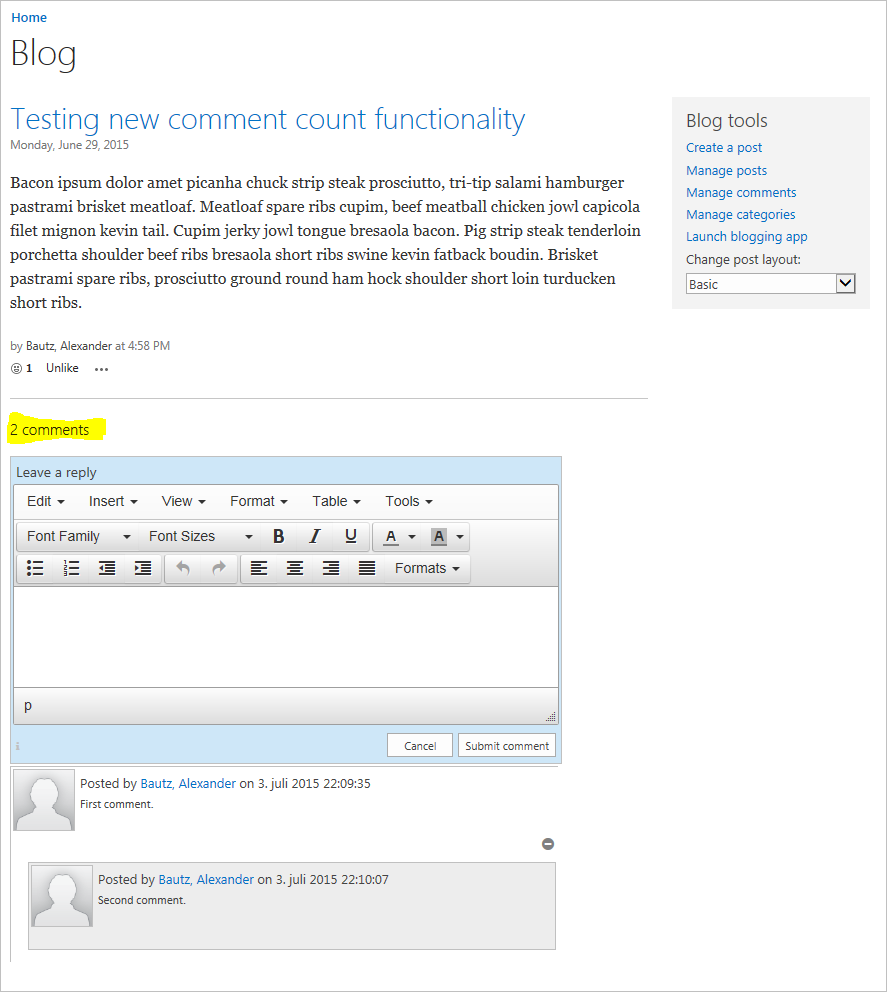 Comment box with blog: Show comment count | SharePoint