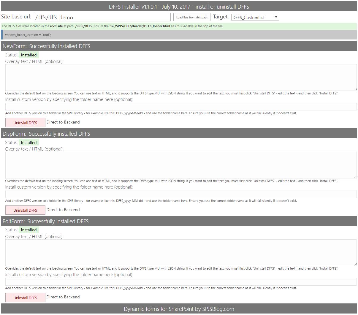 DFFS: Installation manual | SharePoint JavaScripts